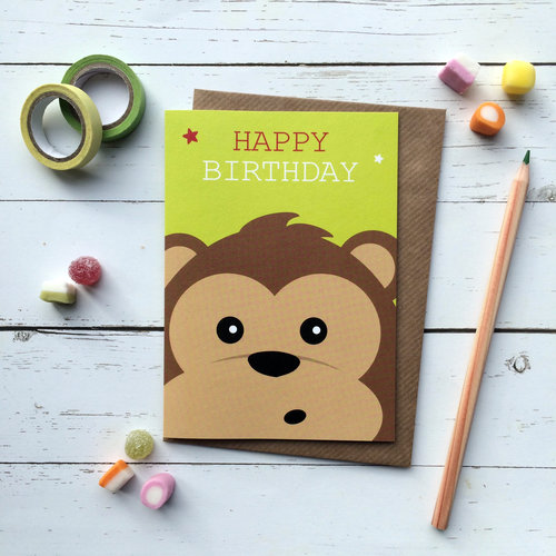 Cute Monkey Birthday Card MONKEY CUTE110