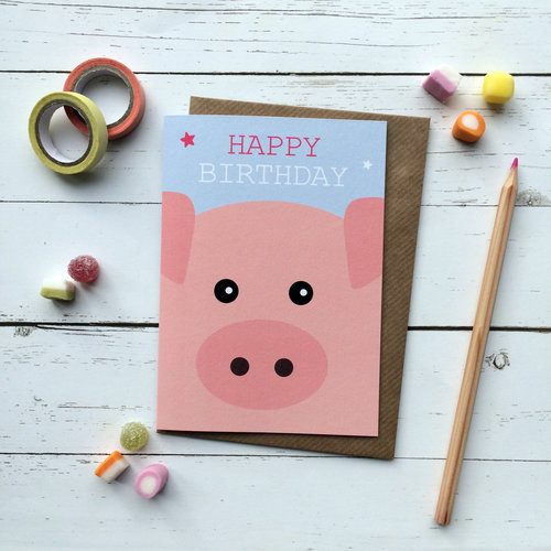 Cute Pig Birthday Card Aliroo