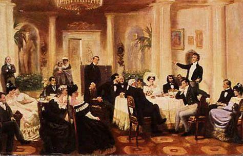 Zinaida Volkonskaya's salon, 1907, door de Russische schilder Grigoriy Myasoyedov (1835–1911).
