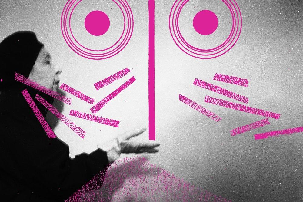 Affiche van de tentoonstelling van Geta Bratescu in het KMS