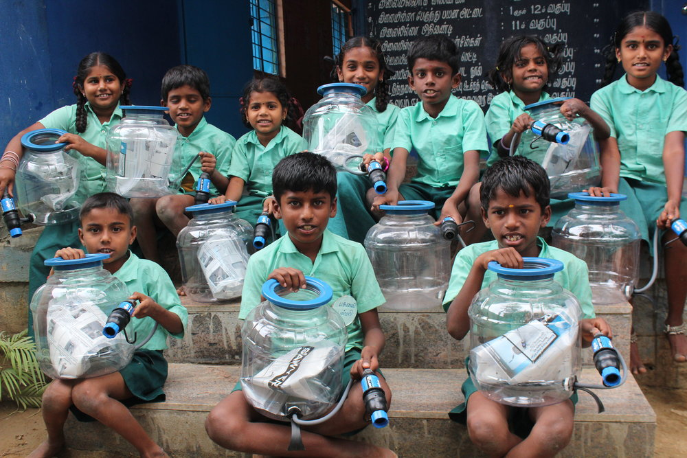 Children in Tamil Nadu are excited to drink clean water