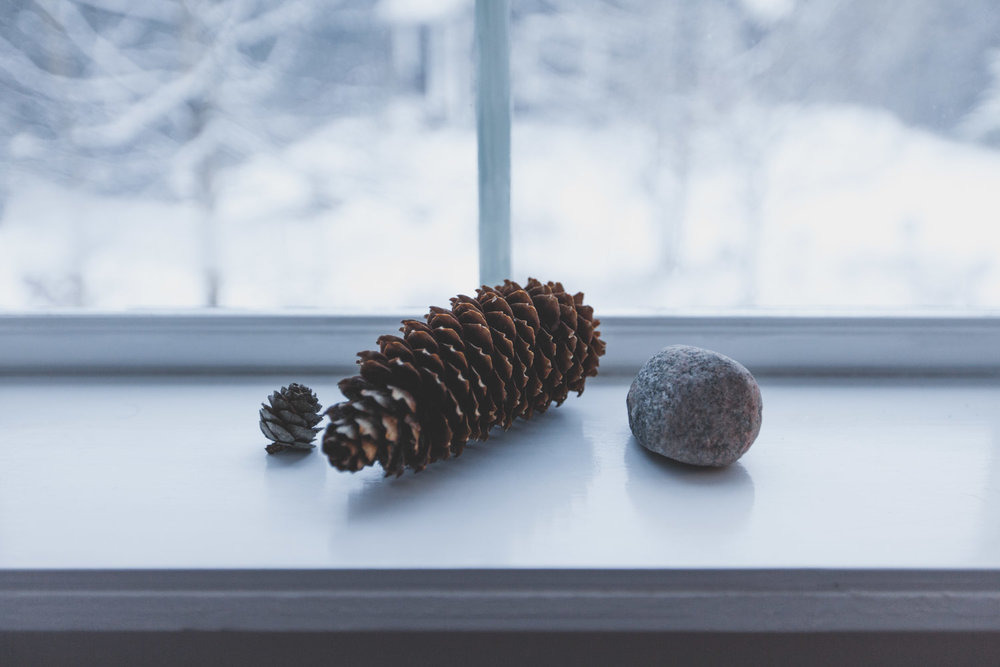 SIMK cone and stone on the window sill