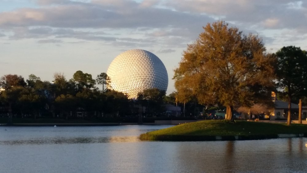 Spaceship Earth, View from World Showcase Lagoon, EPCOT