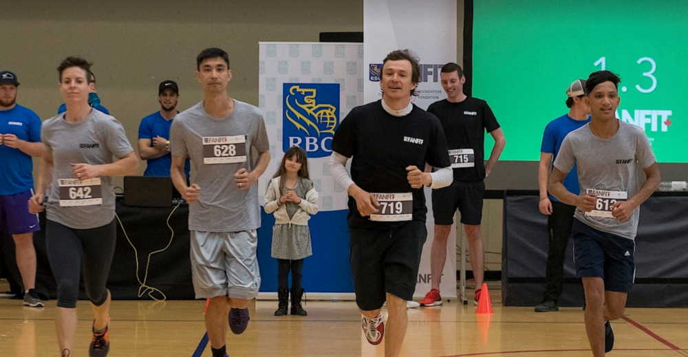 Simon Whitfield participates at the RBC FANFIT Challenge in Vancouver.