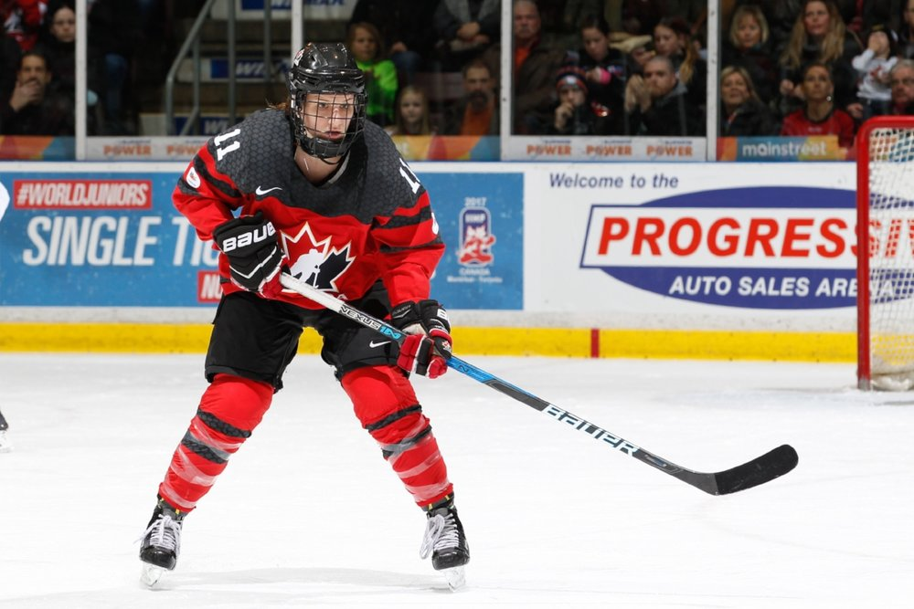 Strength and speed are both important in Jillian Saulnier's role as a forward with Team Canada. (HOCKEY CANADA IMAGES)