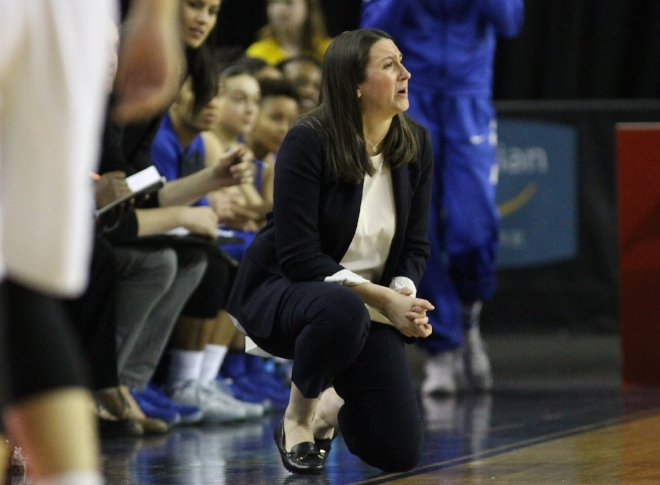 Ryerson Rams coach Carly Clarke works to keep her players focused on the process and daily improvement rather than the long-term outcome.(Photo by Alex D'Addese)