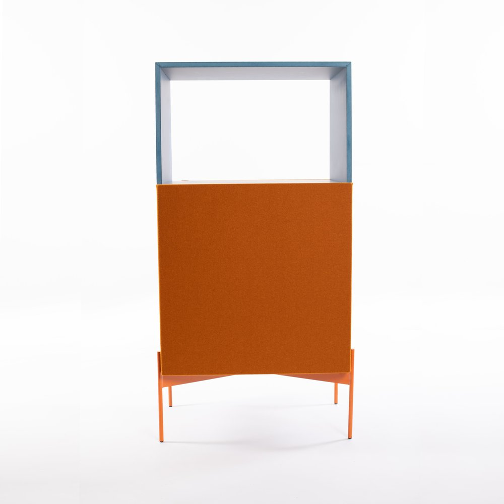 Beira Sideboard with combination of orange Burel and blue Valchromat.