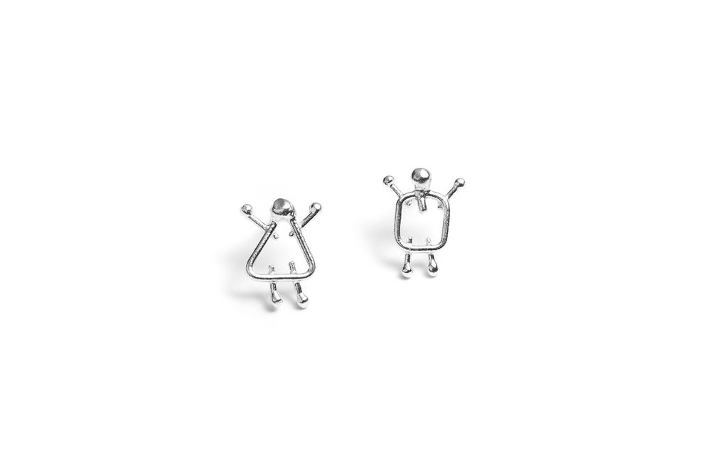 boy and girl stud silver earrings from You and Me line