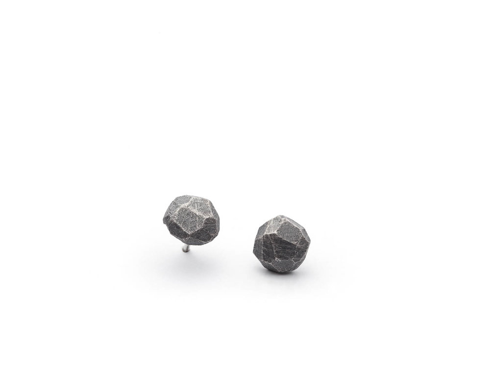oxidized sterling textured stud earrings from Texture line