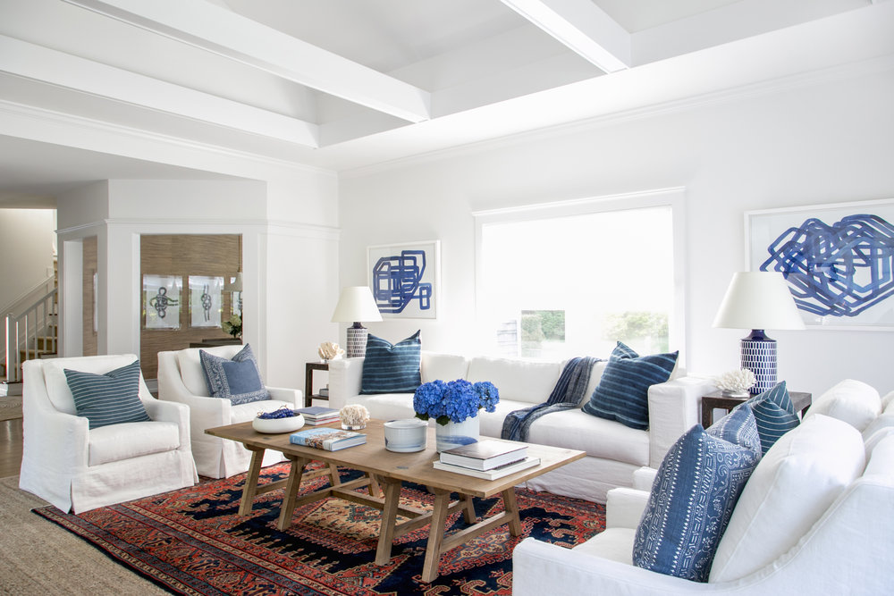 East Hampton New Traditional   Living Room Angle 2