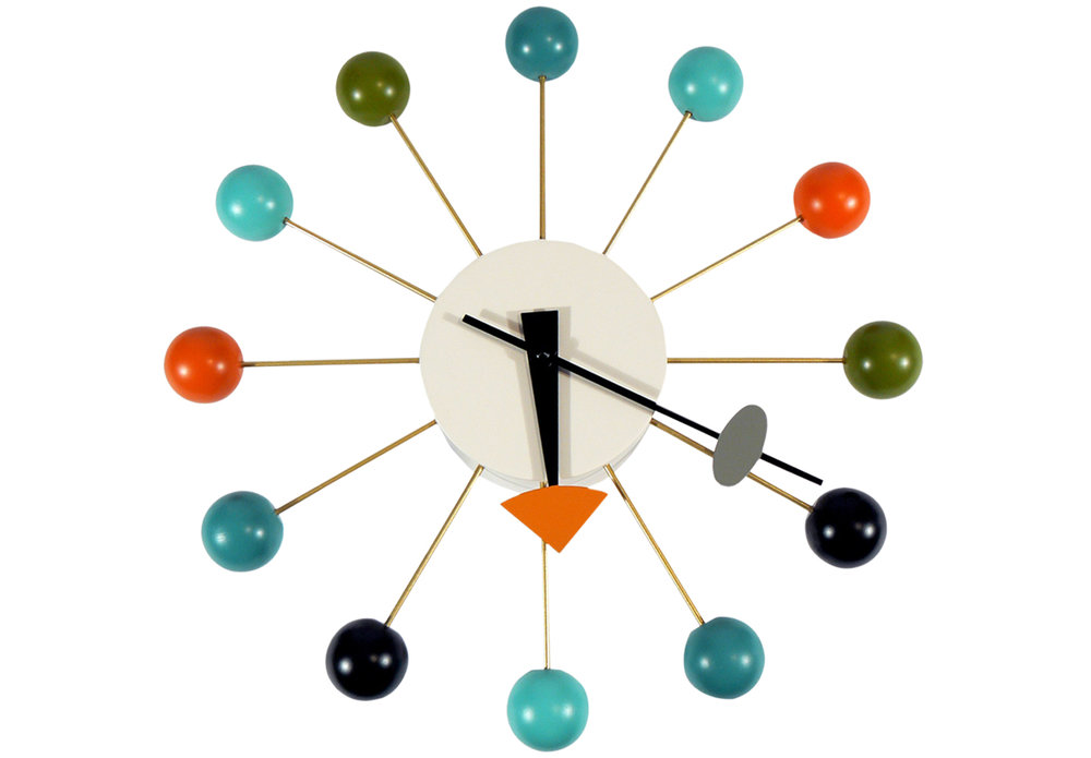 Ball Clock by Vitra - George Nelson's iconic clock typifies the optimism of the 1950s and is perfect for adding a pop of colour to your interior.£215 at Nest.co.uk