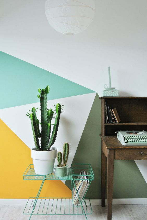 Be bold! - Fab paint patterns and cacti are the perfect style statement for a home office.Image via Workspace Goals on Pinterest.