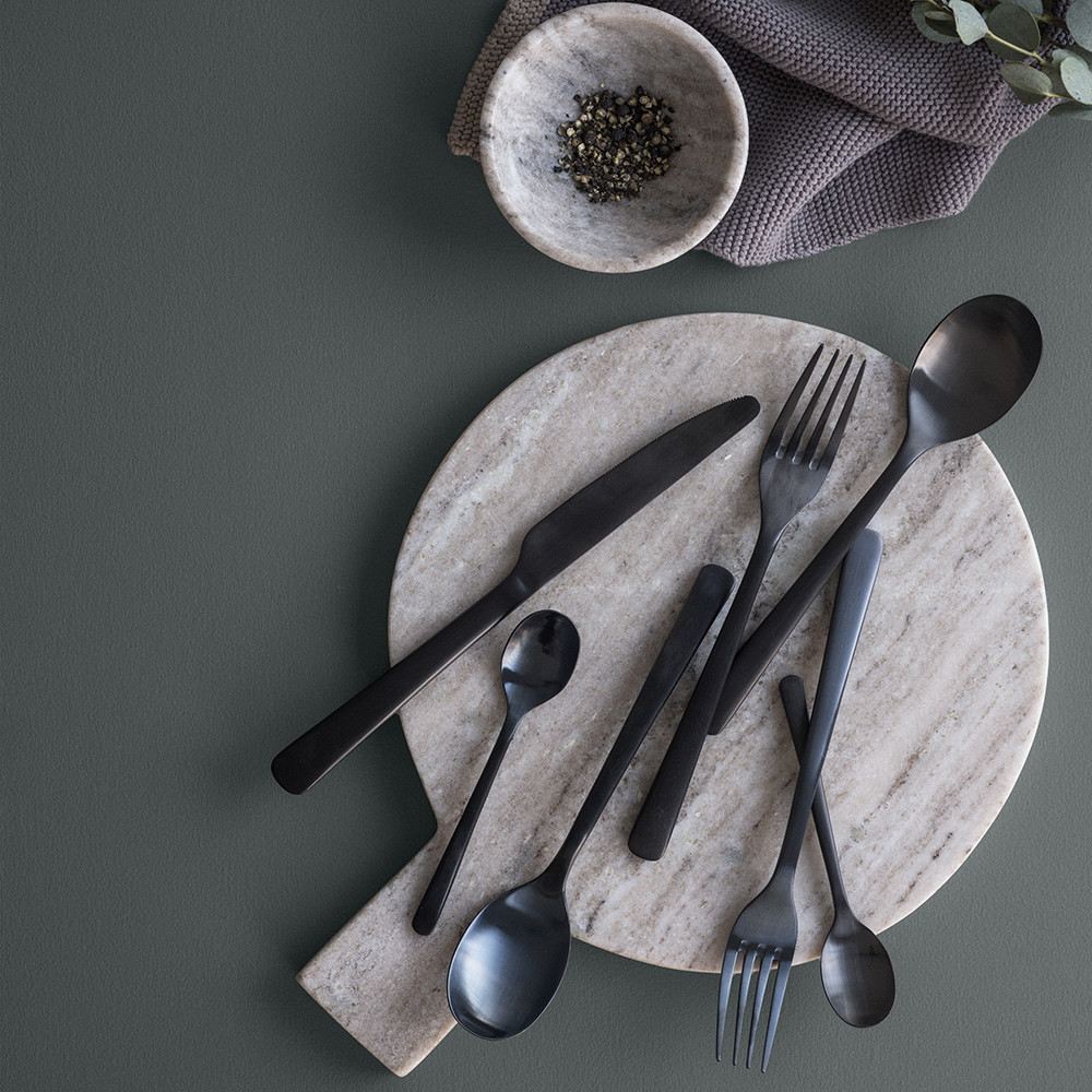 Hune Matte Black Cutlery via  Feather and Marble