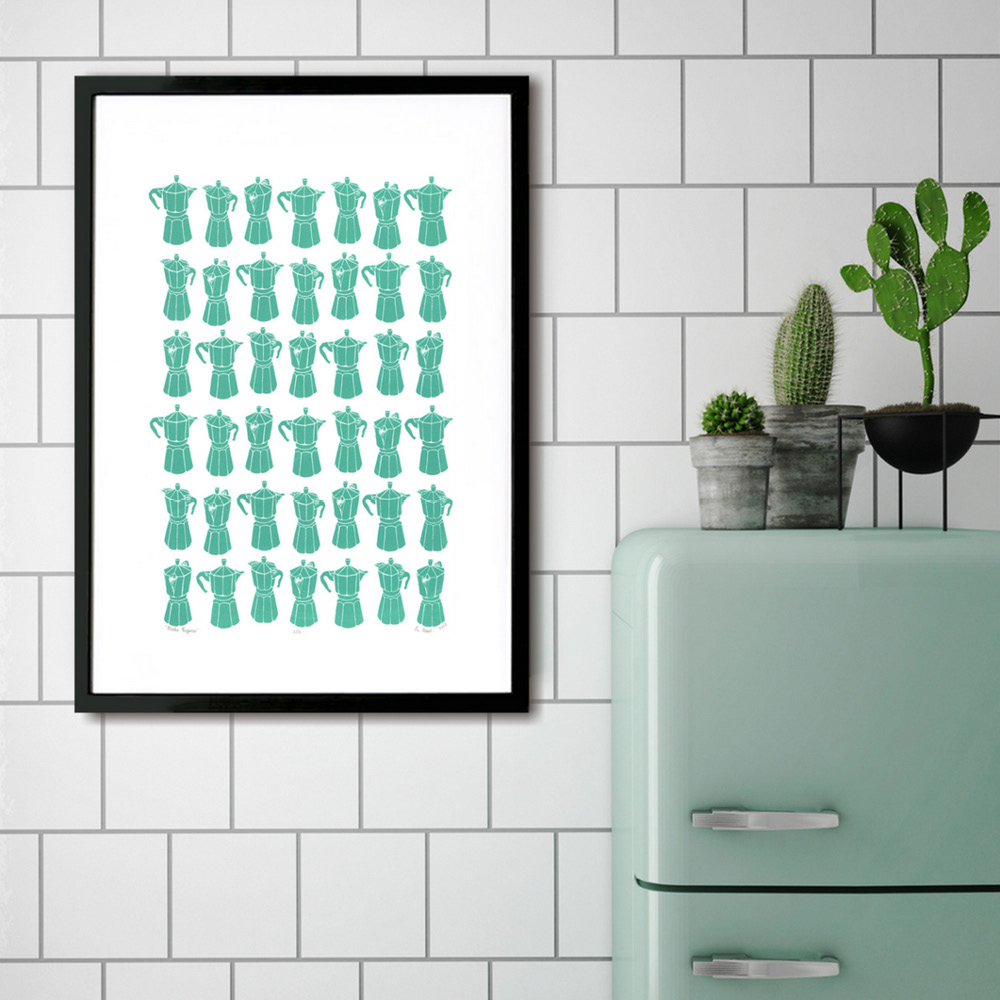 Moka Express Coffee Pot Screen Print in Sea Green - by Lu WestPerfect for retro coffee lovers, this fantastic graphic pattern print of the classic Italian stovetop coffeemaker is simply illustrated yet playful and modern. from £75www.lu-west.com
