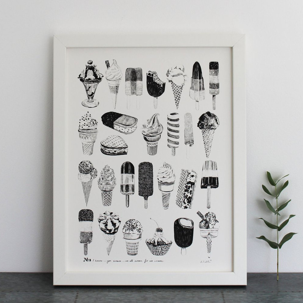 Ice Cream print - by Ros ShiersA collection of intricate ice lollies and ice cream pencil drawings, a perfect picture to add some fun and nostalgia to your kitchen.  from £25www.ros-shiers.com