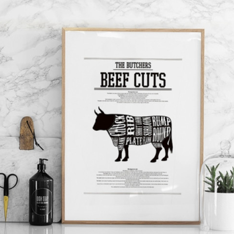 Beef Cuts Poster - This trendy black and white poster features a cattle silhouette in the style of a butcher beef cuts chart with the white text indicating the names of the cuts. This poster would look great in a monochrome style kitchen.from £11.95www.desenio.co.uk