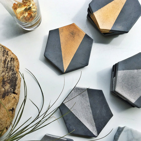 Charcoal Hexagon - These handmade coasters are made to order from concrete and in tones of your choice.£22.37Available at www.etsy.com