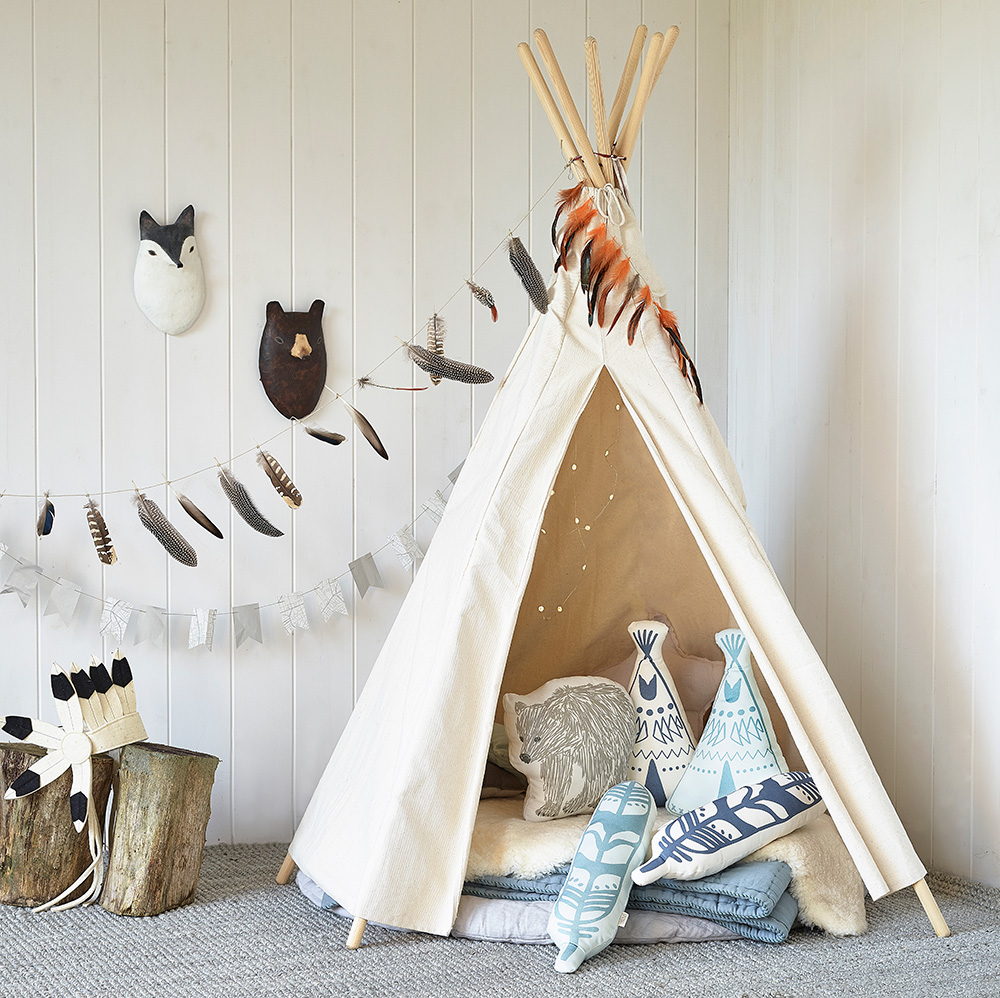 Cuddly cushions - Keep your baby comfy and cosy with the addition of some wonderfully soft cushions. Hibou Home's Brown Bear, Feather and Teepee designs (all £22.50) are softly padded and made from organic cotton – the ideal decorative touch for imaginative playtime in a mini-adventurer's bedroom. You can even use them to accessorize a snug linen canopy that's as enchanting as it is stylish. All of Hibou's cushions are available online, priced from £19, at www.hibouhome.com