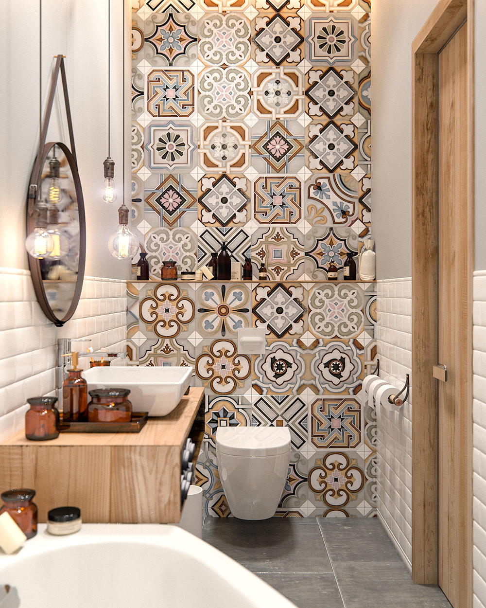 Patterned Tiles above Toilet.jpg