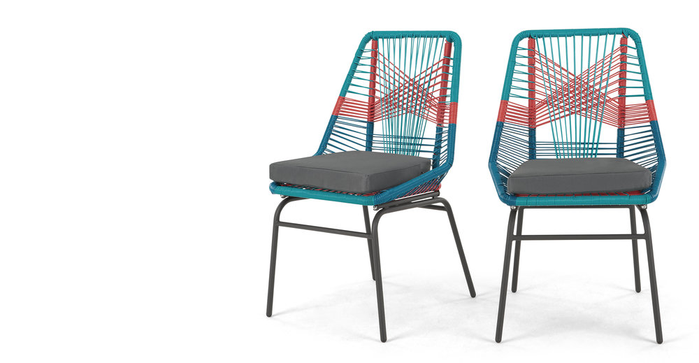 Set of 2 Copa Garden Dining Chairs Multi.jpg