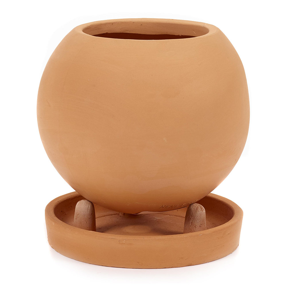 Serax Round Standing Terracotta Plant Pot and Saucer