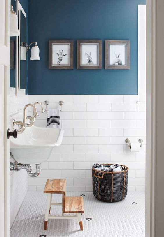 Blue and White Bathroom with wooden steps.jpg