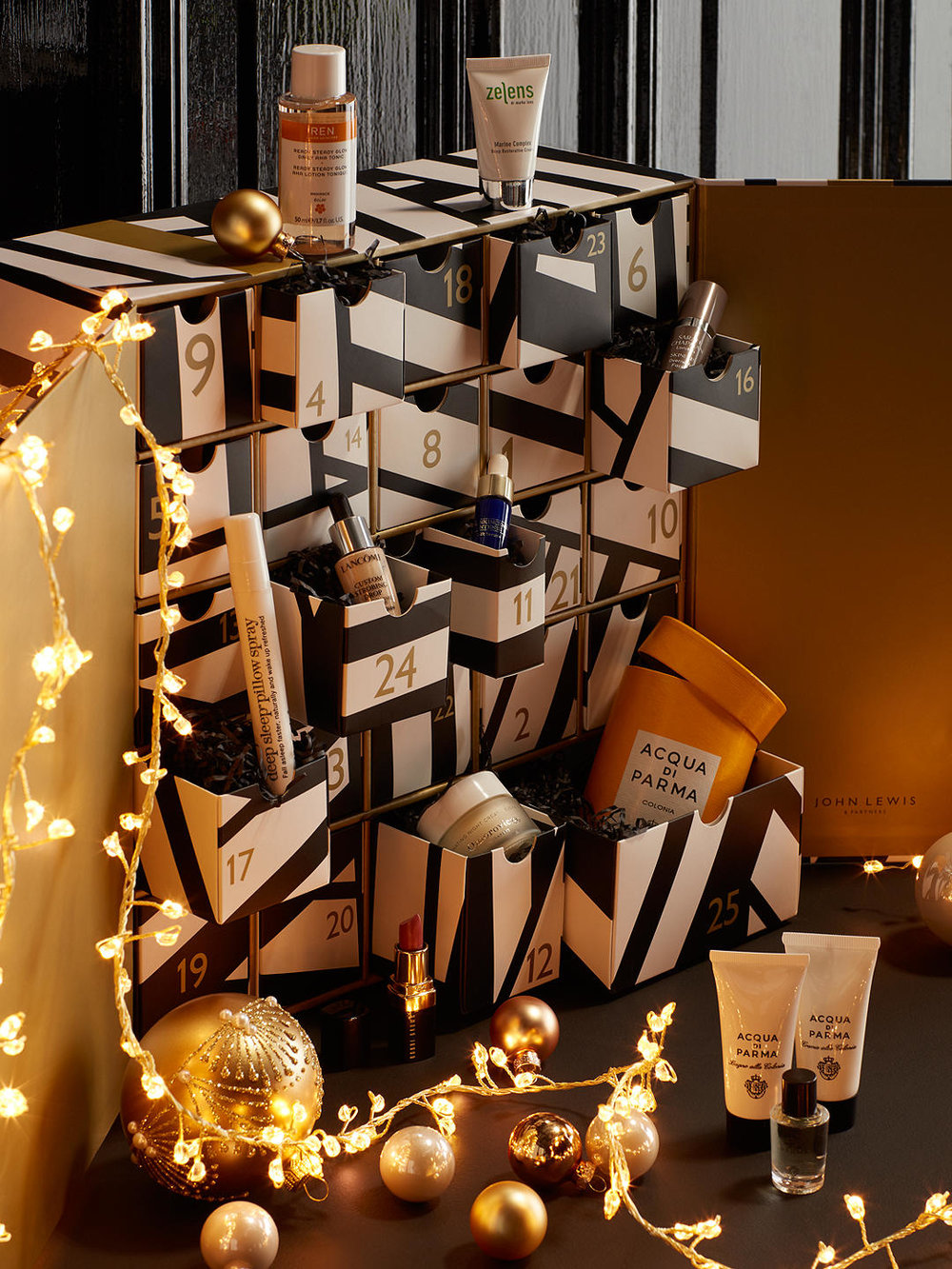 John Lewis & Partners Beauty Advent Calendar - The ultimate indulgence, John Lewis & Partners 2018 beauty advent calendar includes luxury brands from Charlotte Tilbury to Acqua Di Palma and even four mini bottles of perfume!£165.00