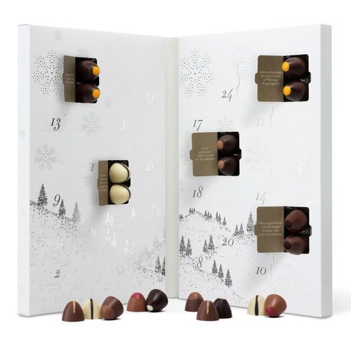 Hotel Chocolat Chocolate Advent Calendar for Two - Made for two, sharing really is caring with this advent calendar from Hotel Chocolat. With two truffles behind each window, the flavours include Salted Caramel Cream, Gingerbread Praline and Raspberry Rush – need we say more!£26.00