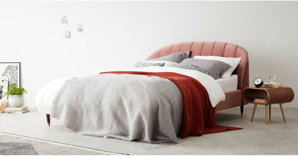 Margot Double Bed in Blush Pink Velvet from MADE: £649.00