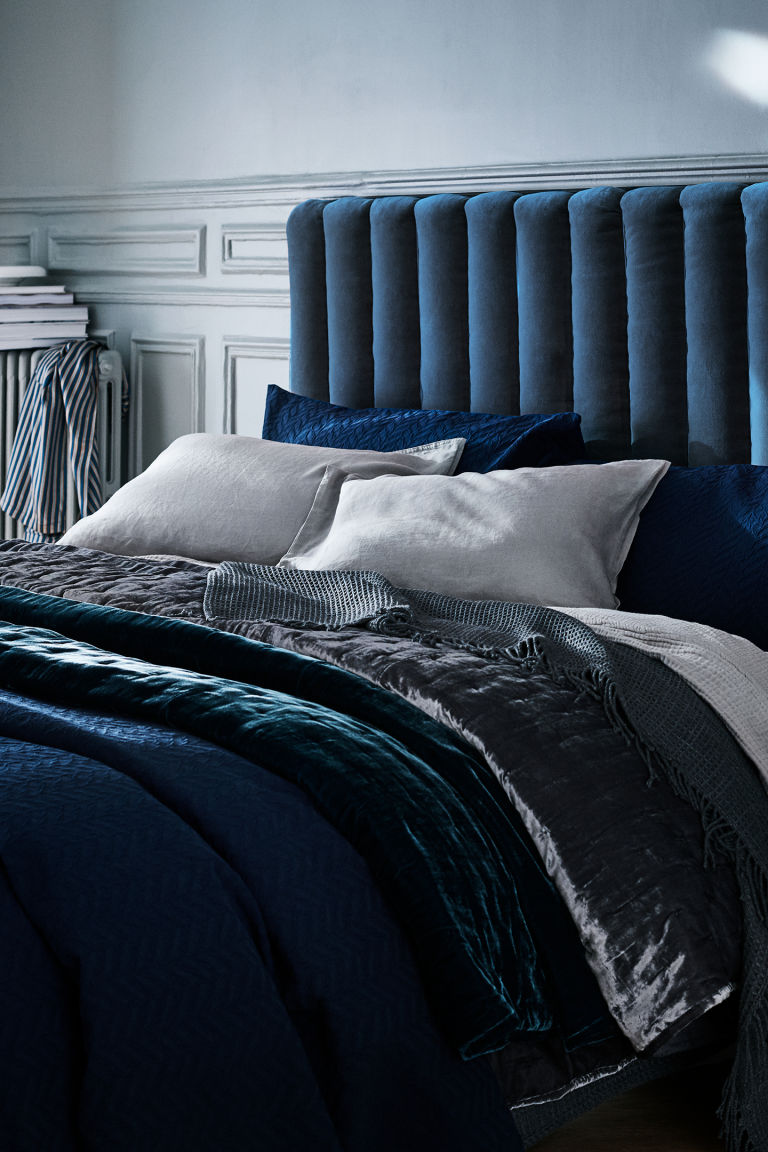 Velvet Accessories - Perfect for introducing a hint of velvet to your home, cushions and throws are a great way to keep up-to-date with the latest trends. Simple and effective, something as small as a couple of new velvet cushions in the colours of the moment can provide an instant update to set your home apart from the rest.H&M Velvet Bedspread £99.99