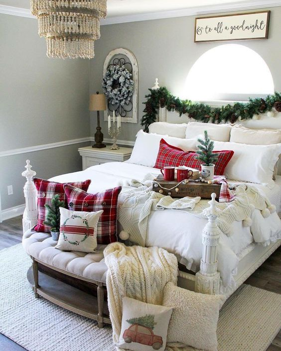 Finishing Touches - Okay so you've figured out where everyone is going to sleep, now is the time to add in some of those finishing touches. Small additions are the key to making a guest space feel homely and inviting.Invest in some Christmas bedding and festive-themed cushions to help create a cosy, seasonal atmosphere for your guests. If you have a guest room, have a winter candle burning when your visitors arrive; the scent will create a comforting ambience that melts away any travel stress.If you want to give your guests the ultimate hotel experience, placing their favourite Christmas chocolates on their pillows is a fun but thoughtful finishing touch.Image: via Pinterest