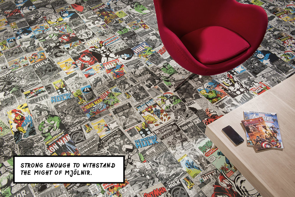 - The click-fit, layered flooring is finished with a high-gloss and scratch-resistant surface, meaning the floor will stay looking pristine even after the most dramatic of playtimes; the designs are also water resistant, so any spillages can be wiped away with ease. Order your 99p sample here to get a slice of the Marvel universe in your home.