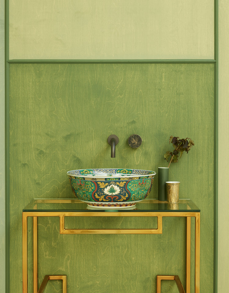 Adriana Basin - Featuring a delicate multi-coloured pattern on both the inside and outside of the bowl, the Adriana countertop basin from The London Basin Company is guaranteed to impress your bathroom visitors. Made from porcelain, the emerald green backdrop is complemented by a playful contrasting design of festive balloons.www.londonbasincompany.com