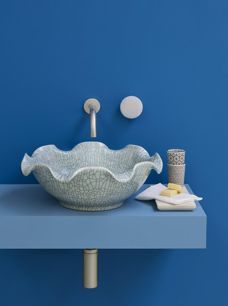 Celestine Basin - A beautiful, unique and eye-catching design, the Celestine Basin from The London Basin Company is shaped like a blossoming flower. Featuring a subtle crackle effect, this basin is the epitome of graceful luxury.www.londonbasincompany.com