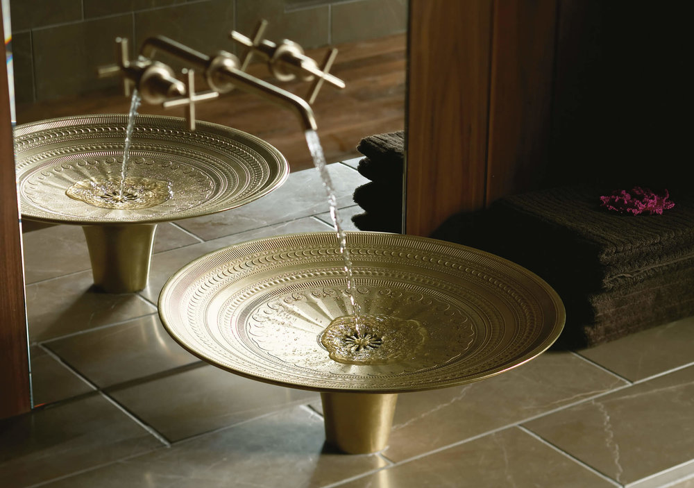 Kamala Cast Bronze Basin - For the ultimate wow-factor, take a look at Kohler's Kamala Basin. Adorned in an elaborate pattern of ridges, dots and swirls, this vessel-style sink is inspired by ancient Southeast Asian tribal rain drums and is cast from a bronze that will deepen over time.www.kohler.co.uk