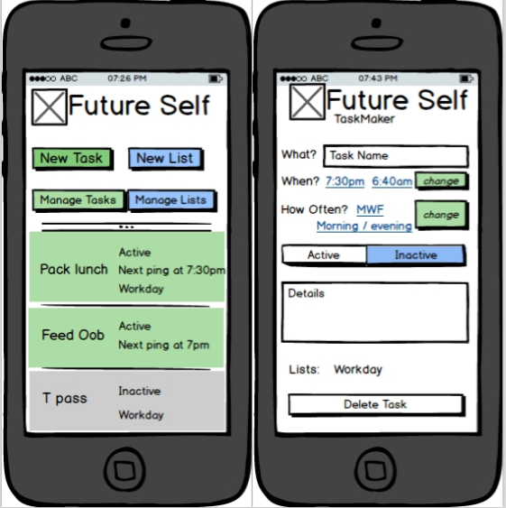 Drafts in Balsamiq for Future Self's main view and taskmaker view