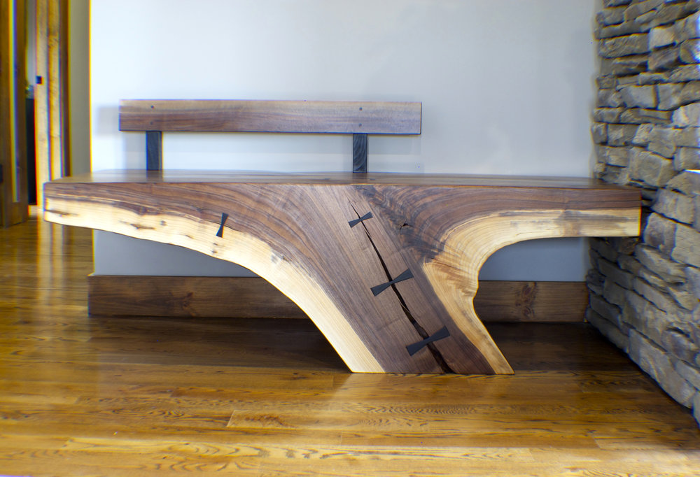 Folded Tree Live Edge Entry Bench