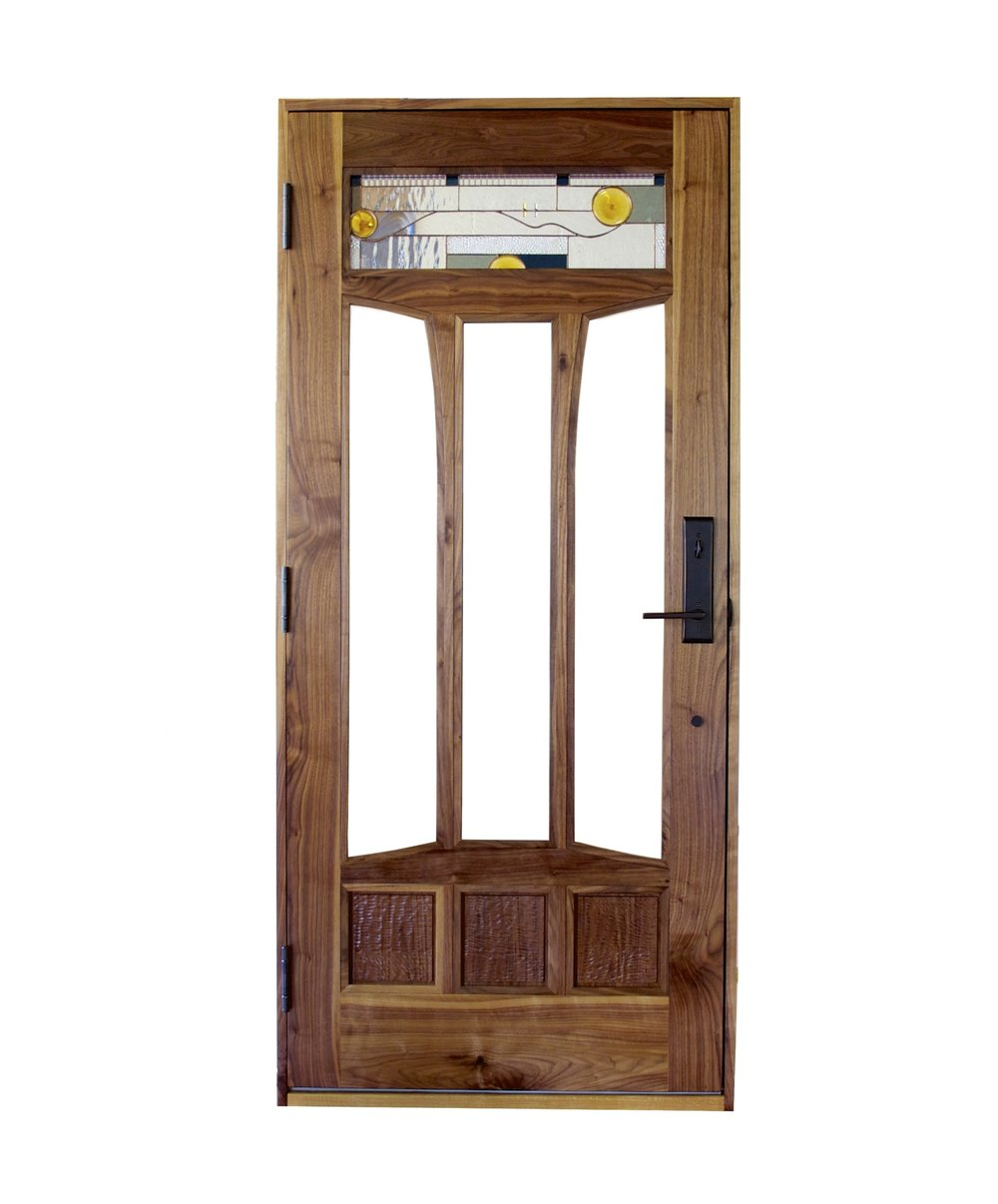 We provide a complete unit: a ready to install pre-hung door with jamb, ball bearing hinges, weather stripping, and drilling for hardware. Finishing available. Add sidelights or transom creating a grand front entrance.