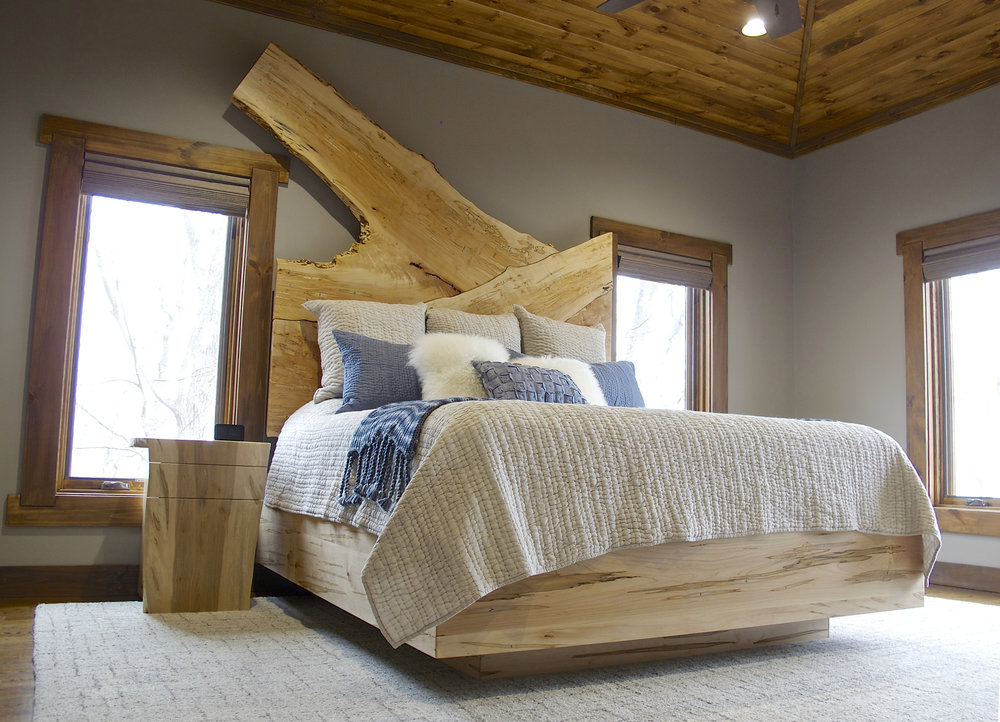 Ambrosia Maple Bed with Live Edge Headboard