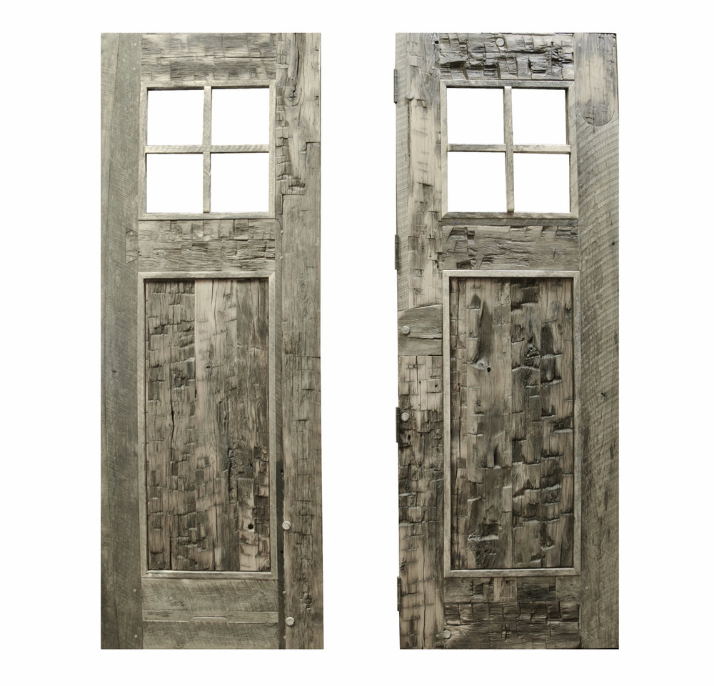 Reclaimed Hand Hewn Barn Beams Made into Exterior Doors