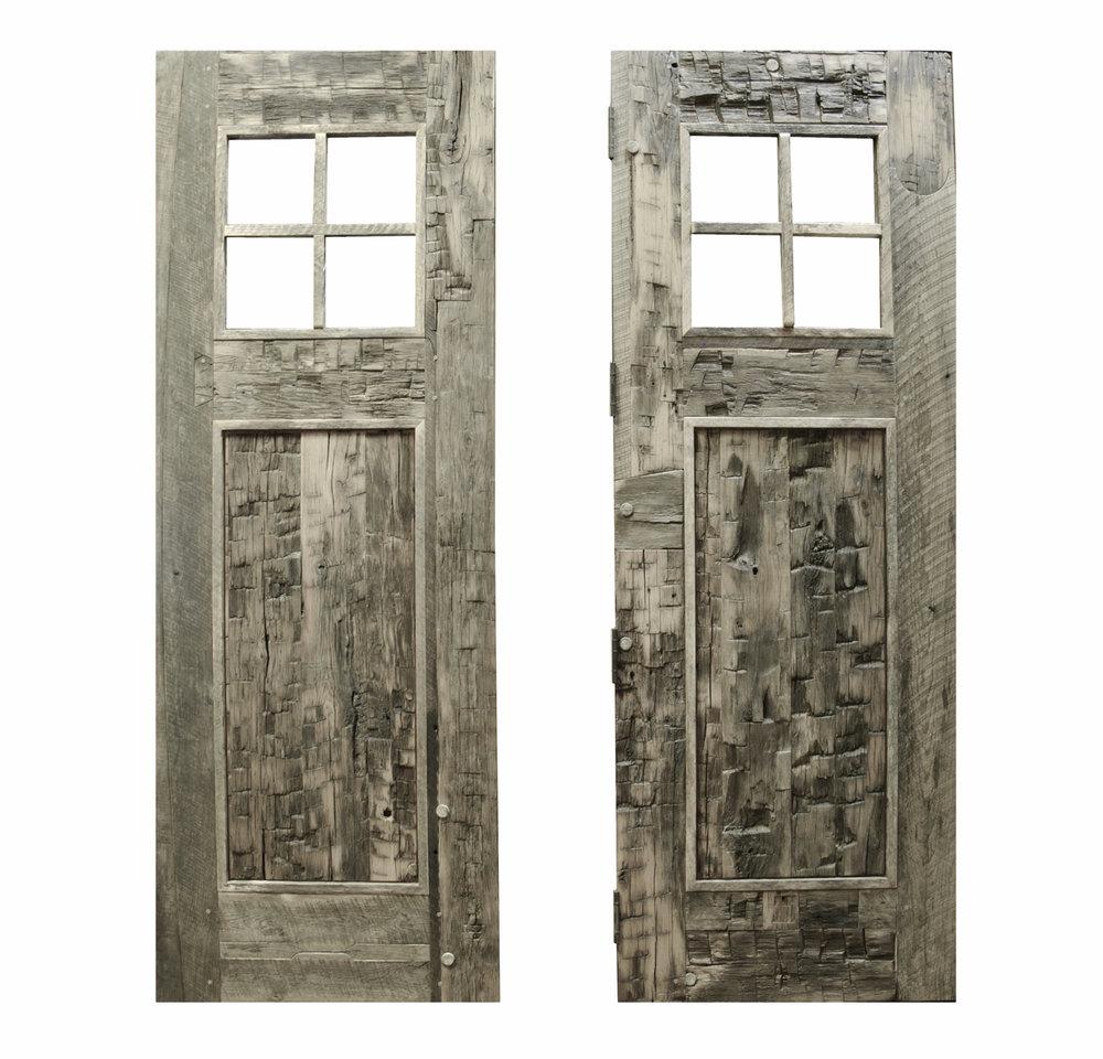 Reclaimed Hand Hewn Barn Beams Made into Exterior Doors