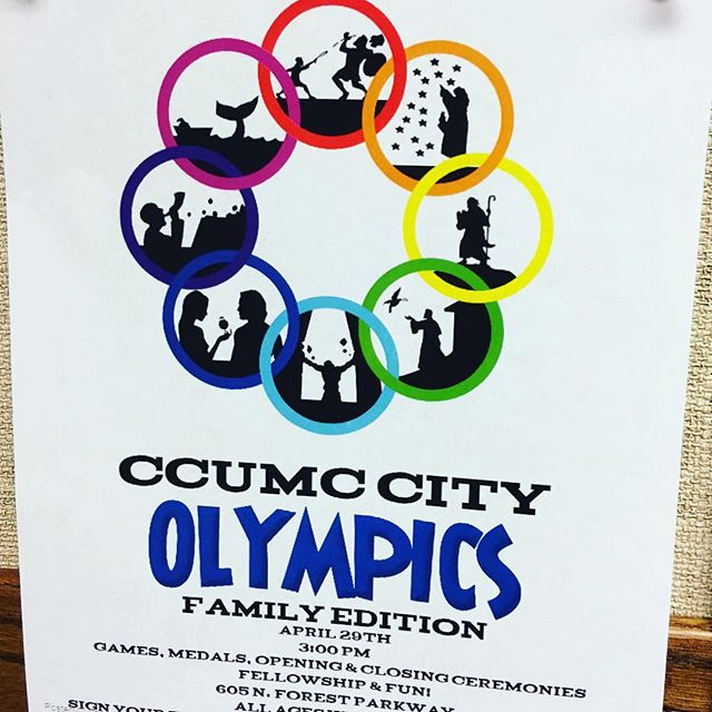 Tomorrow is THE DAY!!! Our first ever CCUMC City Olympics: Family Edition--Games start at 3:00 PM. Bring your team of 3-5 kids/adults.  There is still room for teams to be added.👍 You will NOT be disappointed!!! The weather looks beautiful and the games are crazy fun.