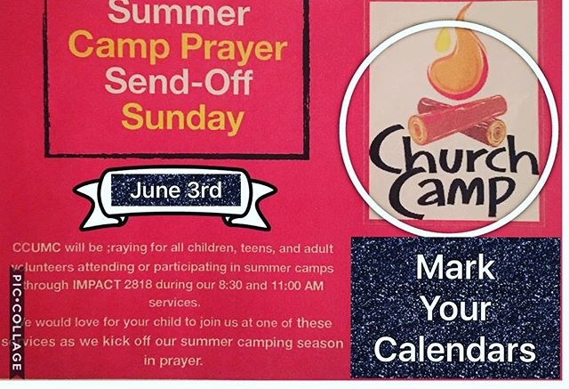 Just a reminder for any parent with children attending church camp this summer. See you on Sunday.