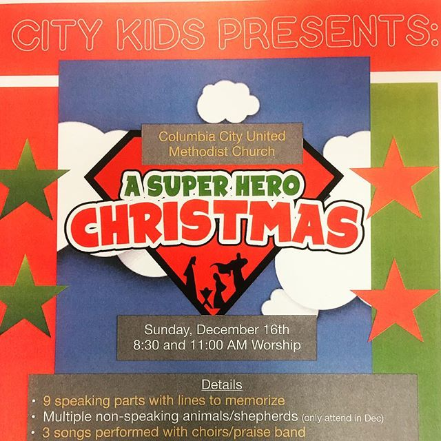 Excited to introduce City Kids to a Christmas season opportunity. Specific details handed out tomorrow along with scripts and music lyrics for anyone interested. See you at 8:30 or 11:00 AM!