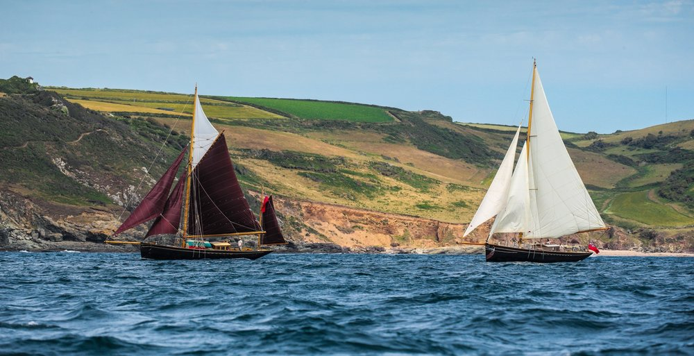 Martha Primrose (left) & Bonaventure of Salcombe (right) off the south Devon shore © Hugh Hastings