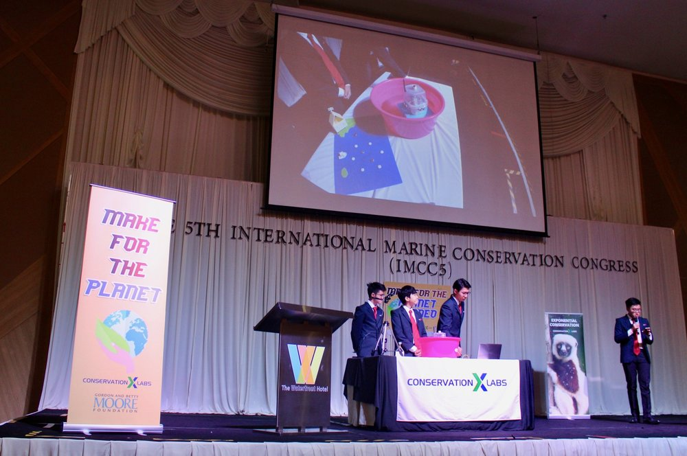 Demonstration of Jaga buoy during the pitch session. The prototype uses low-cost electronics & housing.