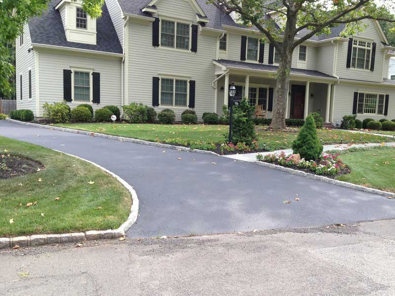 Blacktop Driveway with Belgian Block Curbing Westfield NJ