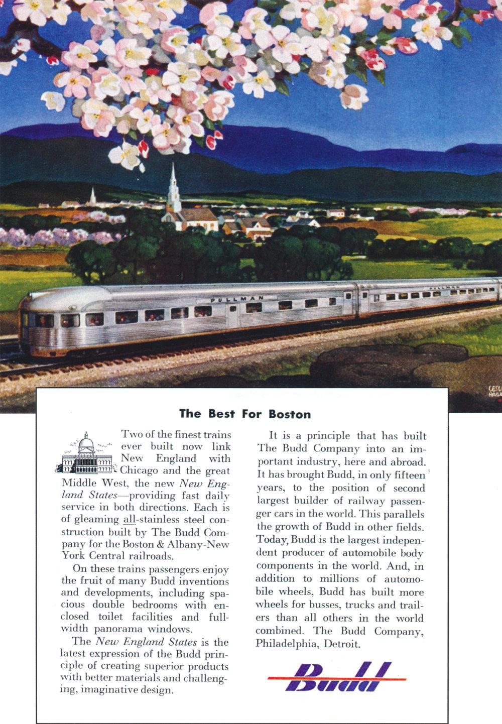 Original 1949 Budd ad displaying the new  New England States  equipment.