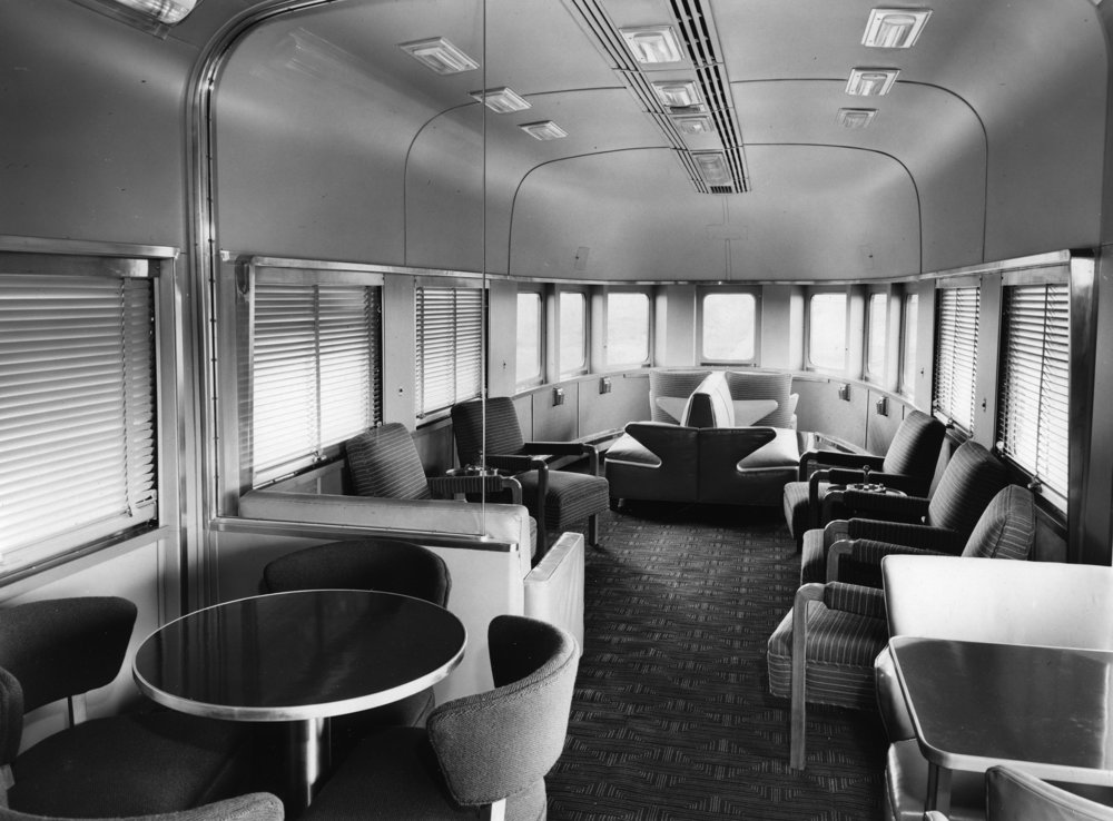 1949 Budd builder's photo of the lounge of the NYC  Plum Brook , which was identical to the  Babbling Brook .
