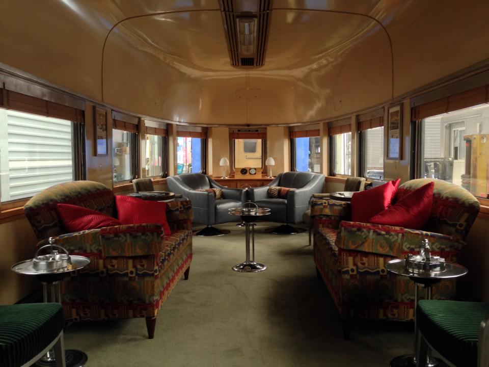The interior of the  Babbling Brook 's lounge, as it was acquired by Webb Rail. The lounge has since been completely redecorated.